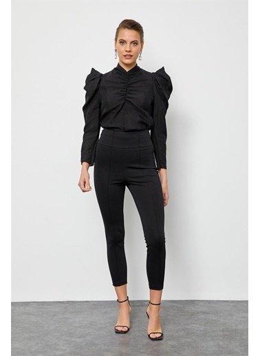 Setre Bej Yüksek Bel Süs Dikişli Fit Pantolon Siyah